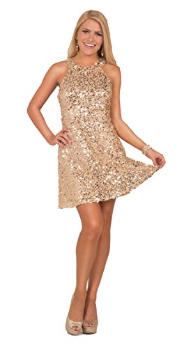 Womens A Line Formal Sequin Open Back Halter Neck Sleeveless Mini Party Dress