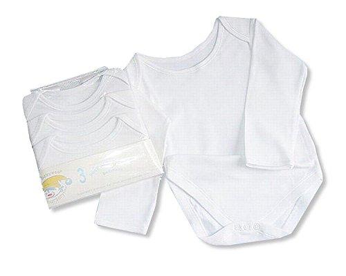 Baby Body a maniche lunghe, confezione da 3, colore: bianco bianco White 3/6 mesi