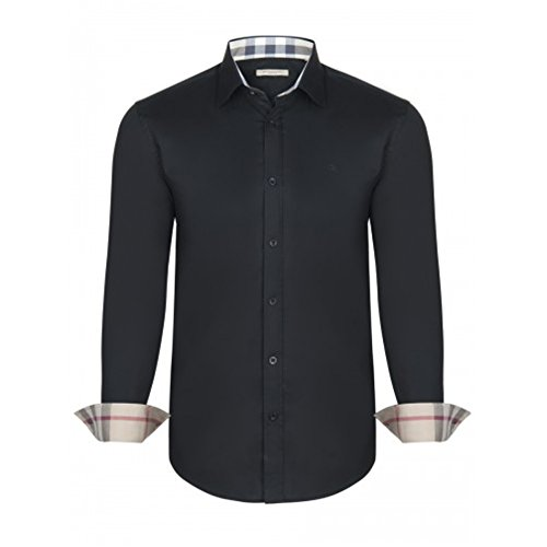 BURBERRY Camicia Uomo Manica Lunga Colore Nero - Black (L)