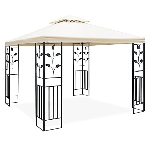 metall pavillon 3 x 3 m mit schmiedeeisen ornamenten anthrazit grau pulverbeschichtet dach in. Black Bedroom Furniture Sets. Home Design Ideas