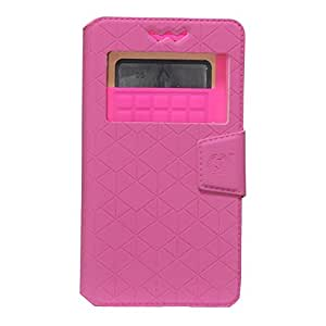 Jo Jo Cover Toto Series Leather Pouch Flip Case With Silicon Holder For Maxx AX8 NOTE I Exotic Pink