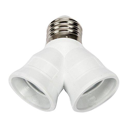 10 Pcs Y Shape E27 To E27 Light Lamp Bulb Socket 2 Splitter Convertor White