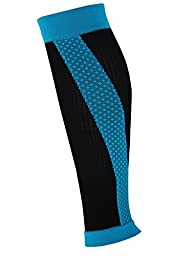 Shin Splint Compression Sleeves By Run Forever Sports - Health & Fitness Accessories for Men & Women - Ideal for Running, Cycling, Nurses, Maternity & More (Blue, Medium)