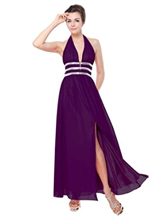 Ever Pretty Halter Sequins Open Back Padded Plunge V-neck Prom Gown 09581, HE09581PP08, Purple, 6US