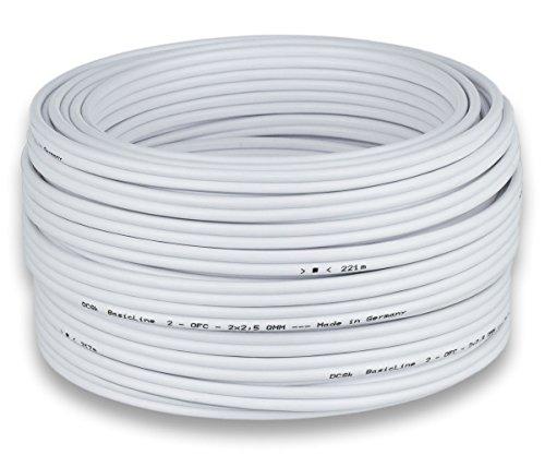 DCSk Câble d'enceinte - blanc - haut-parleurs - HiFi en cuivre - cuivre OFC - 2 x 2,5 mm² - 50m
