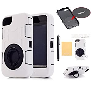 TIANLI(TM) Deluxe Hard Soft High Impact Hybrid Armor Defender Case Combo For Apple iphone 4 4S 4G+[Screen Protector]+[Free Stylus]+[Cleaning Cloth] White A1 from TIANLI LTD.