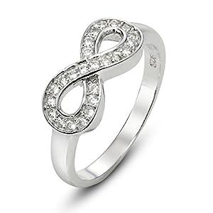 925 Sterling Silver Cubic Zirconia Infinity Symbol CZ Wedding Band Ring, Nickel Free Sz 4