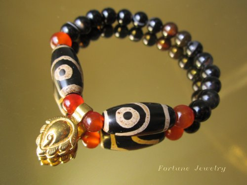 Harmony Tibetan 2 Eyed Protection Dzi Bead Bracelet with 8mm Black Agate Beads and Tibetan Brass Malas Counter Clips