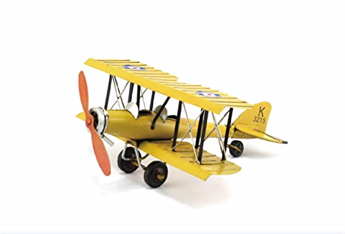 Metal Airplane K3215 Yellow British WW1 Avro 621 Tutor Bi-Plane