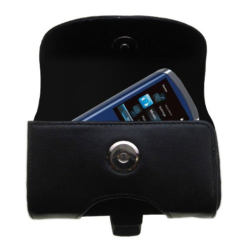 Horizontal Black Leather Case for the RCA M4204 OPAL Digital Media Player with both a belt clip and loop option - a Gomadic design