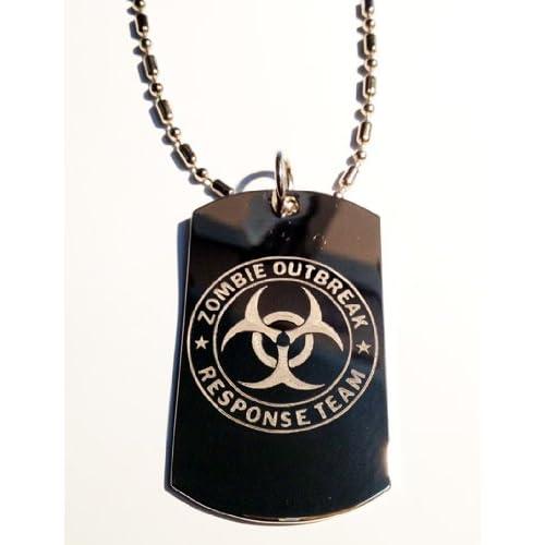 Zombie Outbreak Response Team Zort Z.o.r.t NEW Classic Biohazzard Logo Symbols   Military Dog Tag Luggage Tag Key Chain Metal Chain Necklace