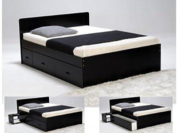 Lit avec 2 chevets et 2 tiroirs PACOME - 140x190cm - Laqué noir