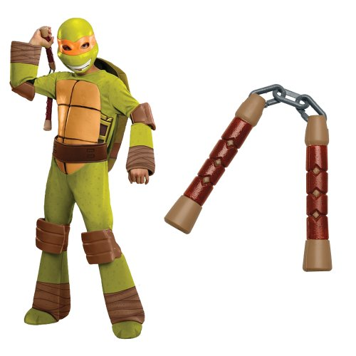 Teenage Mutant Ninja Turtles - Michelangelo Kids Costume With Nunchucks, Small