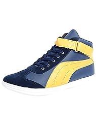 Andrew Scott Men's Blue & Yellow Synthetic Sneakers 8 UK