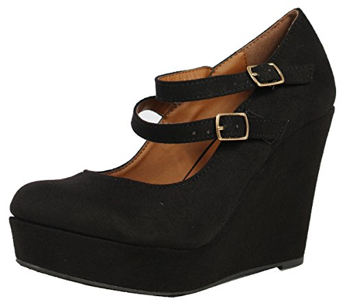 Soda Women's Daniel Faux Suede Double Strap Mary Jane Platform Wedge , mve shoes daniel black suede size 6.5 (Platform Shoes Soda compare prices)