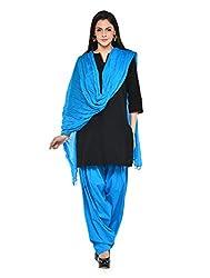 Stylenmart Women Cotton Solid Full Patiala Salwar Dupatta Set (Stmapa078601 _Ferozi _Free Size)