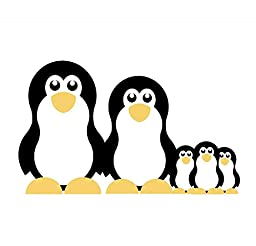 Wallmonkeys Family of Penguins Peel and Stick Wall Decals (12 in W x 12 in H)