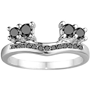 Sterling Silver Engagement Ring Wrap (0.34 crt. Black Cubic Zirconia).