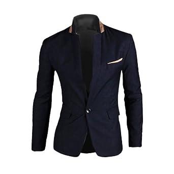 Zicac - Veste de Costume 1 Bouton Blazer - Homme (L, Bleu foncé)