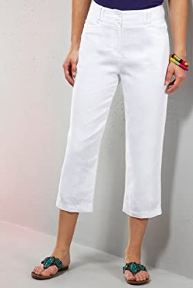 Per Una Pure Linen Flat Front Cropped Trousers [T62-5555G-S]
