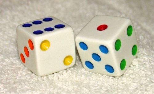 Multi Colored Dots Opaque Dice