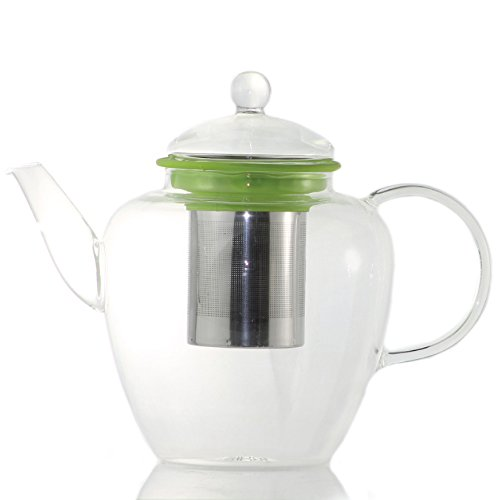 Galaxy Glass Large Teapot With Stainless Steel Infuser - 42Oz / 1250Ml (Lime)