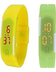 Xeno LED Band Yellow Green Combo Unisex Wrist Watch