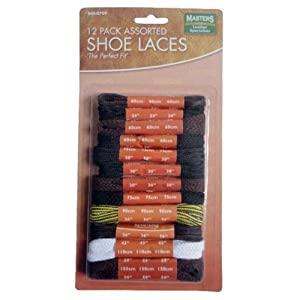 Assorted Shoe Laces 12pk Brown, Black, White,