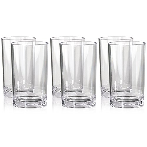 Set of 6 | 9oz Heavy Base Restaurant Tumbler Juice Glass, Break-resistant, BPA-free Plastic, Clear (Small Glass Base compare prices)