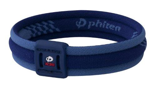 Phiten Titanium Bracelet X30 Edge, Navy / Blue, 7.5 Inch