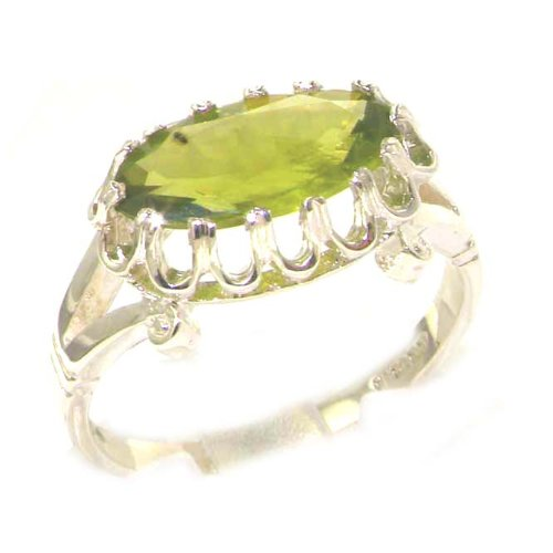 Quality Solid Sterling Silver Genuine 2ct Peridot English Victorian Inspired Ring - Size 12 - Finger Sizes 5 to 12 Available - Suitable as an Anniversary ring, Engagement ring, Eternity ring, or Promise ring