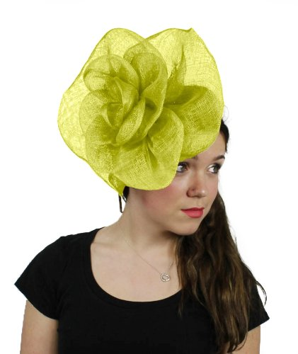 Hats By Cressida 10 Inch Cuban Rose Sinamay Ascot Fascinator Hat Women'S With Headband - Lime