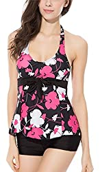 Uget Women's 2 Piece Halter Neck Padded Tankini Top with Shorts