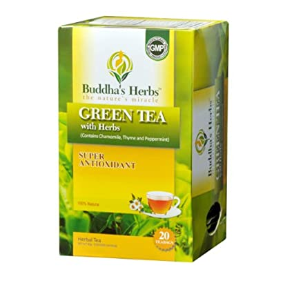 Buddha's Herbs Green Tea with Herbs, 20 Count Tea Bags