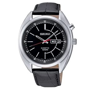 Stainless Steel Case Seiko Men's Kinetic Black Dial Black Strap Watch