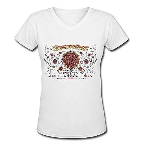 YX Alternative Rock Band Widespread Panic V Neck T Shirt For Women White L
