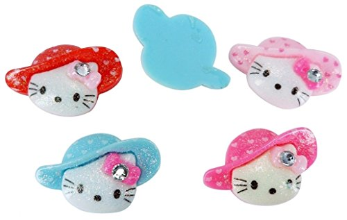 Resin Shimmer Hello Kitty Gem Hat Flatback Scrapbooking Embellishments Cabochon Appliques 10 Pieces (Hello Kitty Flatback Resins compare prices)