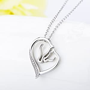 YFN S925 Sterling Silver Mother and Child Horse Head Heart Shape Pendant Necklace 18""