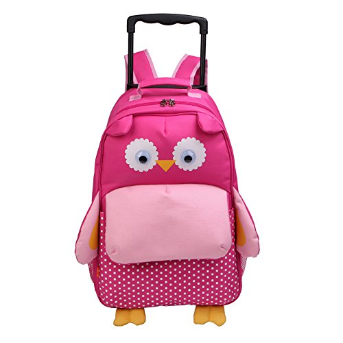 Yodo-Upgraded-Large-Convertible-3-Way-Kids-Suitcase-Rolling-Luggage-or-Toddler-Backpack-with-Wheels-Large-Front-Quick-Access-Pouch-for-Snacks-or-Knickknacks-Owl