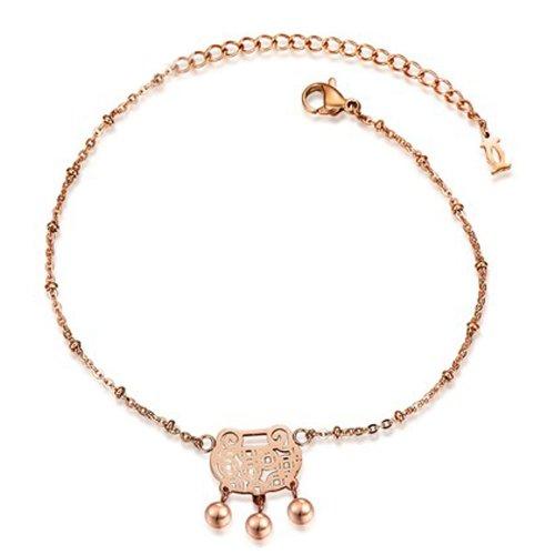 PlusMinus Women's 316L Stainless Steel Retro Longevity Lock Pendant Beads Gift Anklets Rose Gold