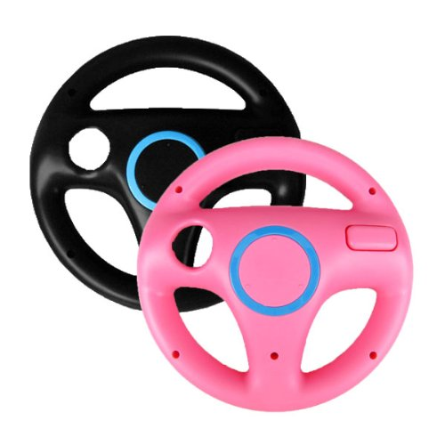 Generic 2 x pcs Pink Black Steering Mario Kart Racing Wheel for Nintendo Wii Remote Game (Steering Wheel Controller For Pc compare prices)