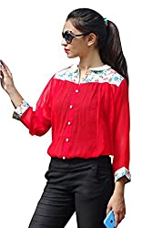 Ethnic For You Red Georgette Freesize Shirt