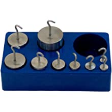 United Scientific Stainless Steel Weights, Hooked, Metric (Set of 9)