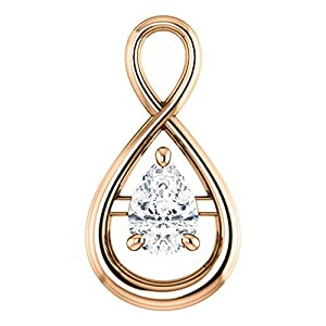 18K Rose Gold Pear Cut Diamond Pendant - 0.5 Ct.