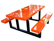 Big Sale Ofab Custom Theme Tables 72-Inch Rectangle Picnic Table, Orange *** Lifetime Warranty ***
