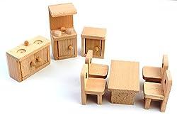 CraftDev Solid Wood Miniature Dollhouse Kitchen Furniture
