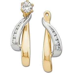 IceCarats Designer Jewelry 14K Yellow White Gold 1/6 Ctw Diamond Earring Jacket. Pair 1/6 Ct Tw