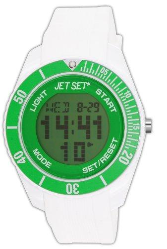 Jet Set J93491-18 - Reloj digital de cuarzo unisex con correa de caucho, color blanco