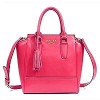 PASTE Women's Split Leather Crossbody Satchel Totes/Shoulder Bag with tassels Rose Red