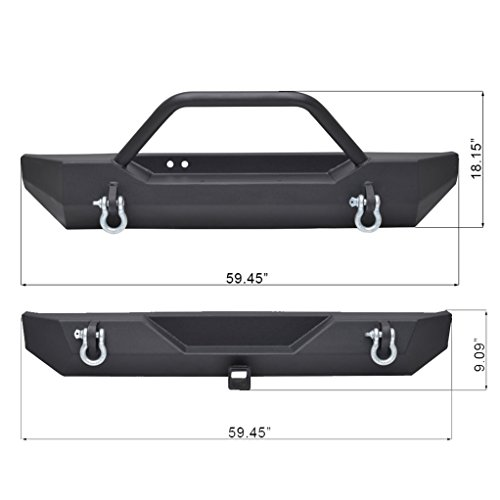 X-restyling Black Textured Front Bumper and Combo for Jeep Wrangler TJ YJ